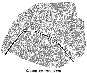 carte, france, paris, ville