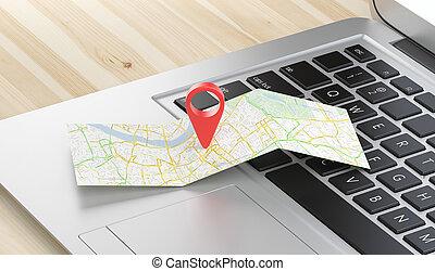 carte, géographique, emplacement, épingle