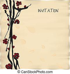 carte, gabarit, invitation