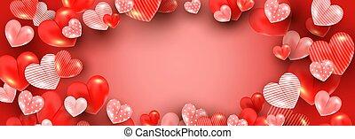 carte, gabarit, text., décor, coeur, lot, formes, rouges, ...