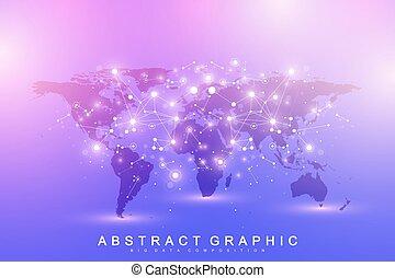 carte, gestion réseau, réseau, grand, concept., global, fond, artificiel, données, machine, communication., vecteur, connections., apprentissage, intelligence, mondiale, technologie, gabarit