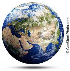 carte, globe, -, asie, terre planète
