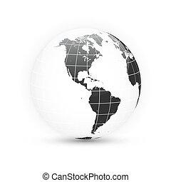 carte, globe., continents., set., illustration, planète, vecteur, la terre, mondiale
