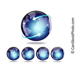 carte, globe, mondiale