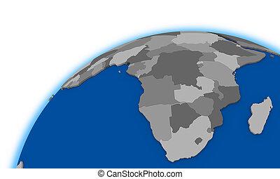 carte, globe, politique, afrique sud