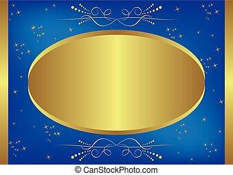 carte, gold-blue, vecteur, étoiles