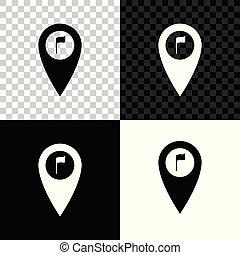 carte, golf, isolé, illustration, symbole., arrière-plan., drapeau, vecteur, emplacement, marqueur, noir, blanc, indicateur, transparent, icône