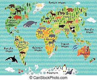 carte, gosses, enfants, animal, mondiale