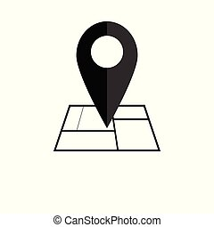 carte, gps, illustration., plat, symbole., emplacement, icon., vektor, indicateur, design.