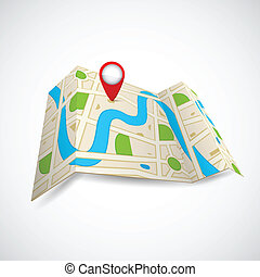 carte, gps, route, application