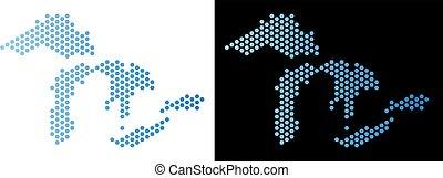 carte, grand, hexagone, lacs, abstraction