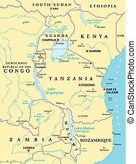 carte, grand, politique, lacs, africaine