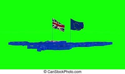 carte, grand, union, grande-bretagne, état, drapeaux, ...