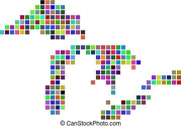 carte, grands lacs, point, multicolore