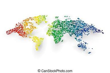 carte, graphique, coloré, pointillé, conception abstraite, mondiale