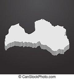 carte, gris, lettonie, arrière-plan noir, 3d