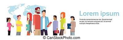 carte, groupe, business, espace, sur, gens, mondiale, copie, bannière