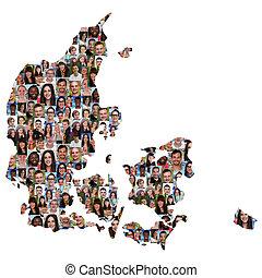 carte, groupe, gens, danemark, multiculturel, jeune,...