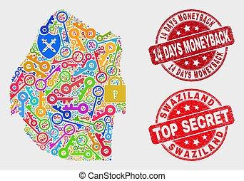 carte, grunge, 14, watermark, collage, moneyback, jours, swaziland, sécurité
