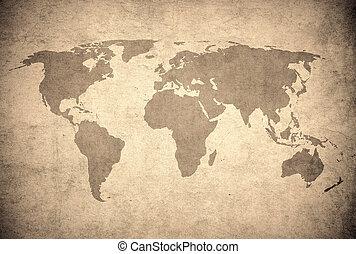 carte, grunge, mondiale