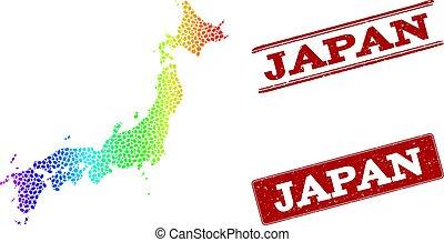 carte, grunge, pointillé, timbre, spectre, cachets, japon
