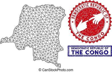carte, grunge, polygonal, 2d, timbres, congo, république, démocratique