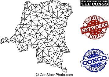 carte, grunge, réseau, maille, polygonal, timbres, vecteur, république, congo, démocratique