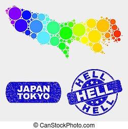carte, grunge, tokyo, timbre, clair, enfer, préfecture, mosaïque