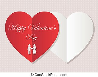 carte, hands., valentin, carte postale, vecteur, valentines, papier, design., tenue, heureux, symboles, jour, hommes, aimez coeurs, salutation, femmes