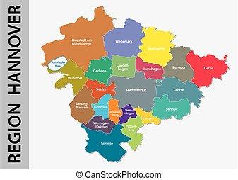 carte, hannover, langue, allemand, région, politique, ...