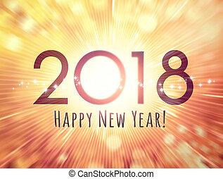 carte, heureux, année, nouveau, 2018, salutation