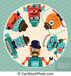 carte, hipster, retro, illustration, robots