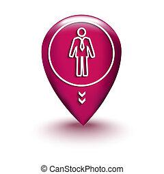 carte, homme, emplacement, icône