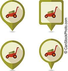 carte, icône, épingle, faucheurs, pelouse, vecteur, jardin, plat