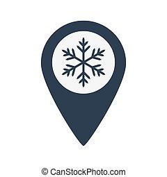 carte, icône, emplacement, flocon de neige