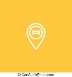 carte, icône, illustration., épingle, voiture