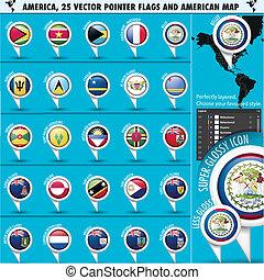 carte, icônes, drapeau, américain, set2, amérique, indicateur