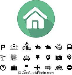 carte, icônes, emplacement