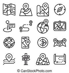 carte, icônes, et, emplacement, icônes