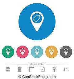 carte, icônes, plat, emplacement, rond, étiquetage, gps