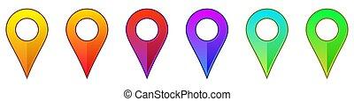 carte, icons., emplacement, indicateur, épingle, icon., navigation