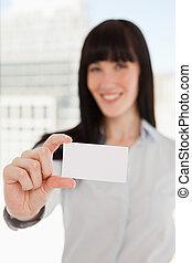 carte, il, business, tenue, foyer, femme
