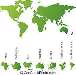 carte illustrée, tout, continents, mondiale