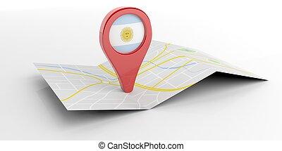 carte, illustration, arrière-plan., argentine, indicateur, blanc, 3d
