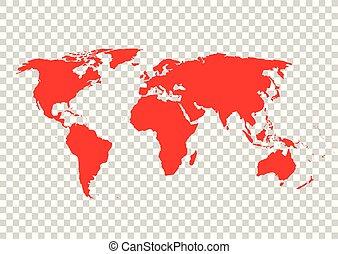 carte, illustration., arrière-plan., vecteur, grille, mondiale, rouges