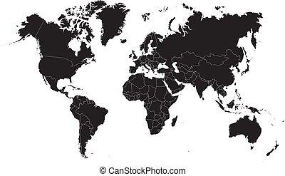 carte, illustration, arrière-plan., vecteur, noir, mondiale, blanc
