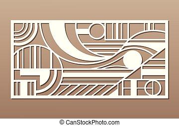 carte, illustration., géométrie, figure, coupure, décoratif, vecteur, proportion, laser, ligne, 1:2., panel., cutting., art, pattern.