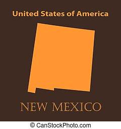 carte, illustration., mexique, -, vecteur, orange, nouveau