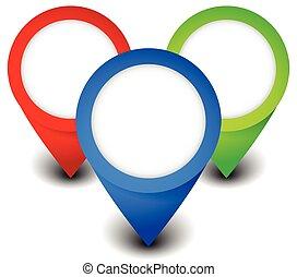 carte, illustration., thumbtacks., concept., epingles, emplacement, vecteur, aiguilles, marqueurs, résumé, localiser