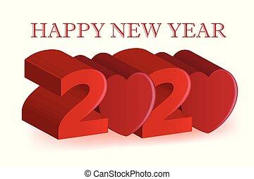carte, image, heureux, année, nouveau, amour, vecteur, bannière, conception, coeur, 2020, fête, fond, 3d, rouges, célébration